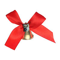 Колокольчик с доп. элементом 'Сова', красный, d2,6 см (комплект из 5 шт.)