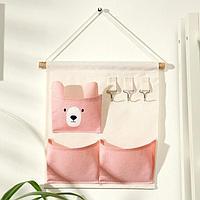 Органайзер с карманами подвесной Доляна 'Мишка', 3 отделения, 30x34 см, цвет розовый