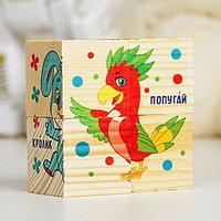Кубики деревянные 'Домашние животные', набор 4 шт.