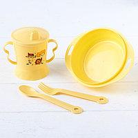Набор детской посуды, 4 предмета миска, ложка, вилка, поильник с твёрдым носиком 200 мл, цвета МИКС