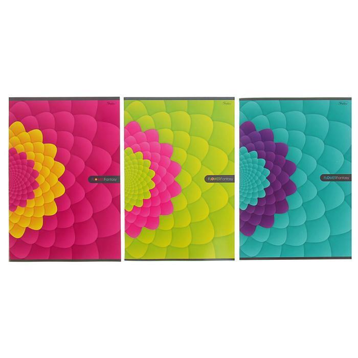 Тетрадь А4, 96 листов в клетку Flower Fantasy, картонная обложка, МИКС (комплект из 3 шт.) - фото 1