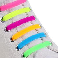 Набор шнурков для обуви, 6 шт, силиконовые, плоские, 13 мм, 9 см, цвет 'радужный'