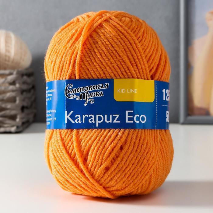 Пряжа Karapuz Eco (КарапузЭко) 90 акрил, 10 капрон 125м/50гр ярк.оранж (655) - фото 1