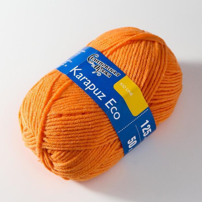 Пряжа Karapuz Eco (КарапузЭко) 90 акрил, 10 капрон 125м/50гр ярк.оранж (655) - фото 2