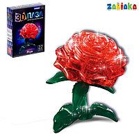 Пазл 3D кристаллический 'Роза', 22 детали, световые эффекты, работает от батареек, цвета МИКС