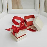 Коробочка подарочная под серьги/кольцо 'Лента', 5*5, цвет бежево-бордовый (комплект из 6 шт.)