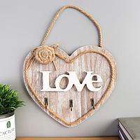 Крючки декоративные дерево 'Сердце с розой' 21х23,5х3 см