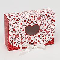 Подарочная коробка сборная с окном 'I LOVE YOU ' 16,5 х 11,5 х 5 см (комплект из 5 шт.)