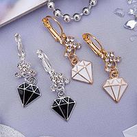 Серьги эмаль 'Грация' алмаз, цвет МИКС