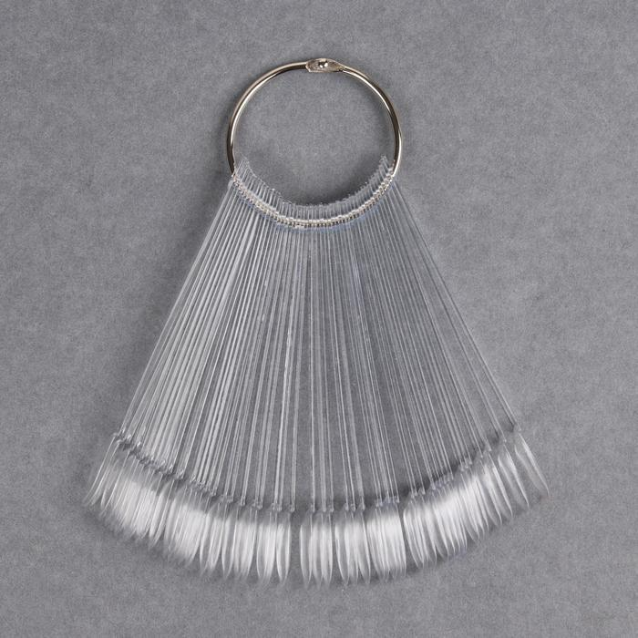 Палитра для лаков на кольце, 50 ногтей, форма миндалевидная, цвет прозрачный - фото 2