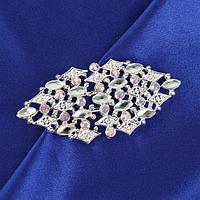 Декоративная застёжка, 7 x 3,3 см, цвет серебряный