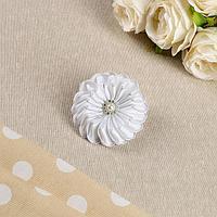 Бант для девочек с резинкой 'Хризантема', 7 см, белый (комплект из 24 шт.)