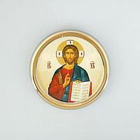 Икона в авто 'Господь Вседержитель',золоченая, липкая лента, D4 см (комплект из 3 шт.)