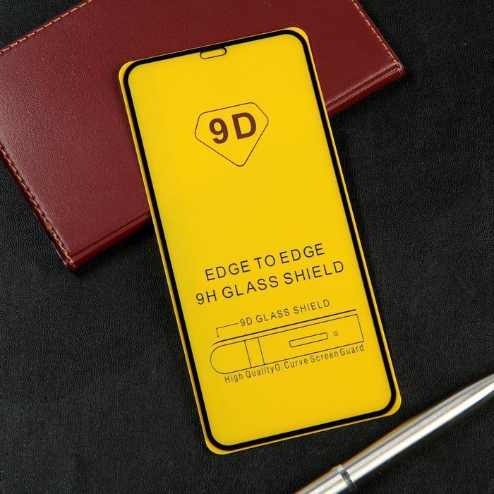 Защитное стекло 9D LuazON для iPhone XS Max/11 Pro Max, полный клей, 0.33 мм, черное - фото 1