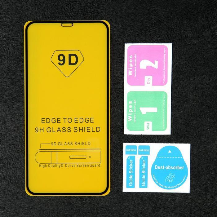 Защитное стекло 9D LuazON для iPhone XS Max/11 Pro Max, полный клей, 0.33 мм, черное - фото 2