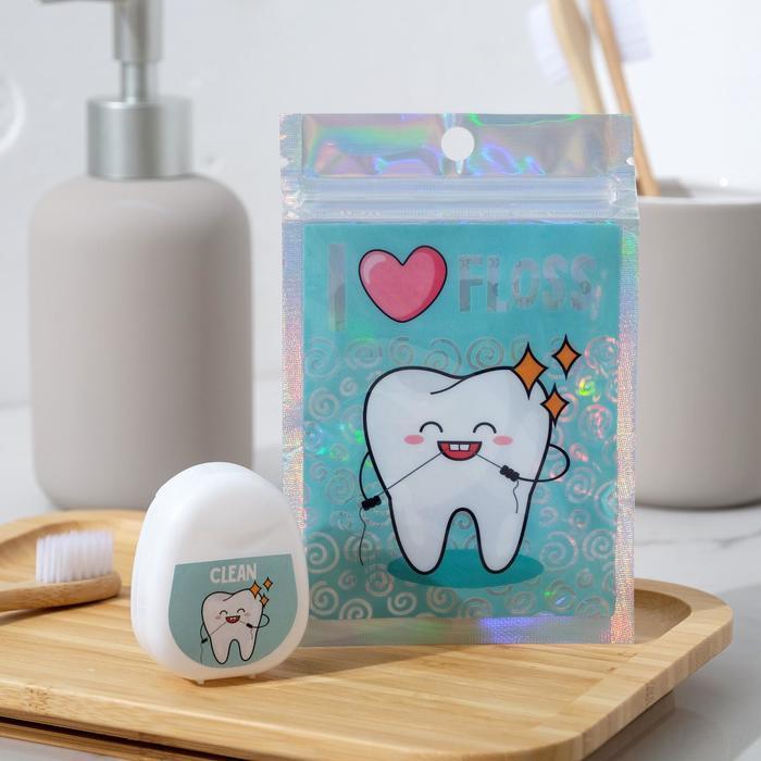 Зубная нить в голографическом пакете I love floss, 30 м., 5 х 4 см - фото 1