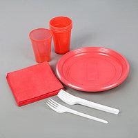 Набор одноразовой посуды 'Летний 2', 6 персон, цвет МИКС