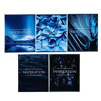 Тетрадь 48 листов в клетку 'Вдохновение, обложка мелованный картон, УФ-лак, блок офсет, МИКС (комплект из 5