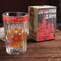 Стакан граненый 'Россия', герб и триколор, 250 мл