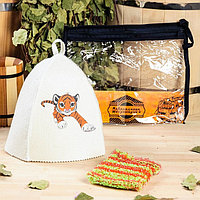 Набор для бани детский 'Тигр' в косметичке шапка с принтом, мочалка