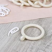 Набор для штор, кольца и крючки, 10 шт, цвет белый
