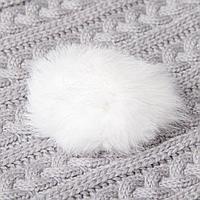 Помпон из натурального меха зайца, размер 1 шт 8 см, цвет белый