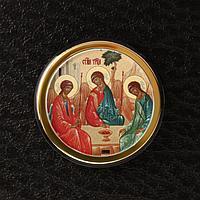 Икона в авто 'Святая Троица',золоченая, липкая лента, D4 см (комплект из 3 шт.)