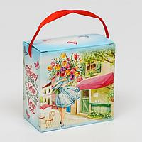 Подарочная коробка сборная, с лентой 'Весна', 11 х 11 х 6 см (комплект из 5 шт.)