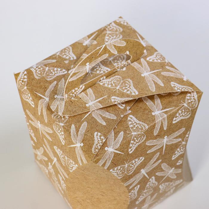 Коробка для кулича 'Стрекозы и бабочки' диаметр 12,4 см - фото 3