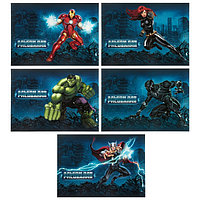Альбом для рисования А4, 20 листов на скрепке 'Мстители MARVEL', обложка мелованный картон, блок 100 г/м2,