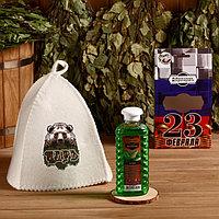 Подарочный набор 'Добропаровъ, с 23 февраля' шапка 'Царь (медведь)' и шампунь
