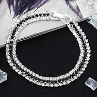 Браслет со стразами 'Лёд' элегантность, строчки, цвет бело-чёрный в серебре, 18см