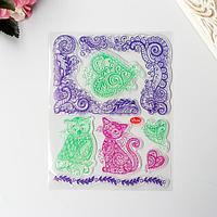 Штамп для творчества силикон 'Филин, кот и узоры' 18х14 см