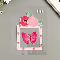Наклейка пластик светится в темноте на выключатель 'Персик и бабочка' 25х16,5 см