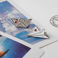 Набор брошей (2шт) 'Кораблик и самолёт', цвет красно-белый в серебре
