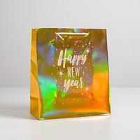 Пакет голография вертикальный Happy New year, ML 23 x 27 x 11,5 см (комплект из 12 шт.)