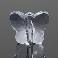 Бусина стеклянная, 10*8мм, бабочка , цвет кристально-прозрачный (комплект из 2 шт.)
