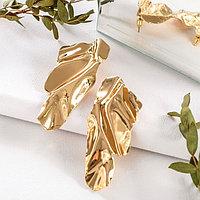 Серьги металл 'Атмосфера' абстракция, цвет золото