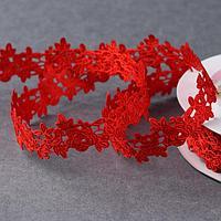 Лента фигурная 'Розы', 25 мм, 9 ± 0,5 м, цвет красный