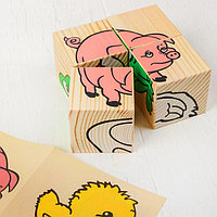 Деревянные кубики 'Животные' 4 элемента, Томик