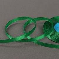 Лента атласная, 6 мм x 33 ± 2 м, цвет зелёный 019