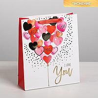 Пакет подарочный ламинированный вертикальный I love you с тиснением, ML 23 x 27 x 8 см (комплект из 3 шт.)