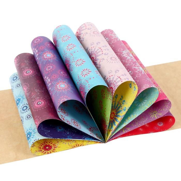 Бумага цветная с орнаментом А4, 8 листов 'Сказочный узор', для декора и творчества (комплект из 3 шт.) - фото 2