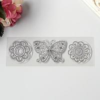 Штамп для творчества силикон 'Цветочная бабочка и две ромашки' 5х16 см