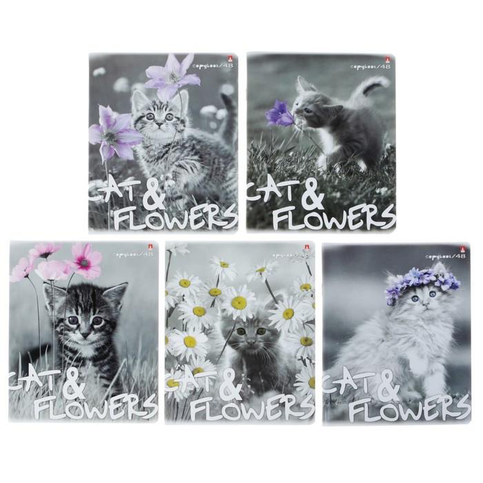 Тетрадь 48 листов в клетку 'Котята и цветы', обложка мелованный картон, гибридный лак, МИКС (комплект из 5 - фото 1