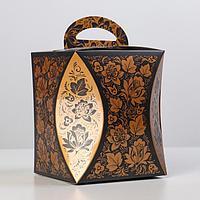 Коробка для кулича 'Узор хохломы' диаметр 12,4 см