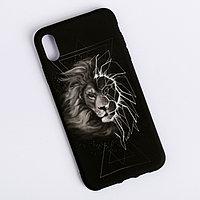 Чехол для телефона iPhone XS MAX 'Лев' soft touch, 16 x 8 см
