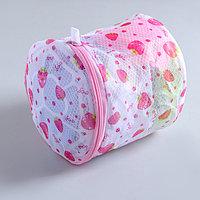Мешок для стирки белья с диском Доляна, 15x15x13 см, двухслойный, крупная сетка, рисунок МИКС