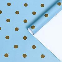 Бумага упаковочная глянцевая 'Горох', голубой, 70 х 100 см, 2 листа