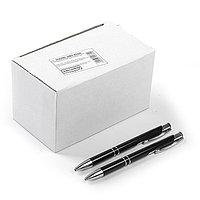 Ручка шариковая, автоматическая, корпус металлический чёрный, стержень синий 0.5 мм (комплект из 50 шт.)